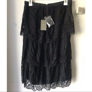 7 for All Mankind Black Lace Dress Strapless